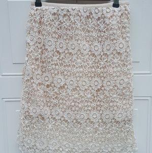 $3/20 Solitaire Crochet Skirt|Cream|Size S